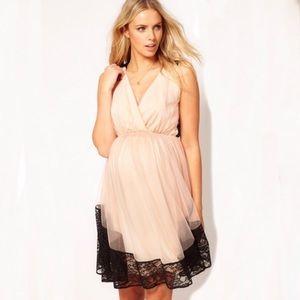 NWT ASOS Maternity Dress Blush Pink Black Lace